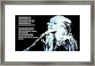 Stevie Nicks Blue Denim Framed Print by John Malone