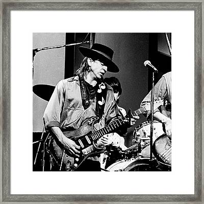 Framed Print featuring the photograph Stevie Ray Vaughan 3 1984 Bw by Chris Walter