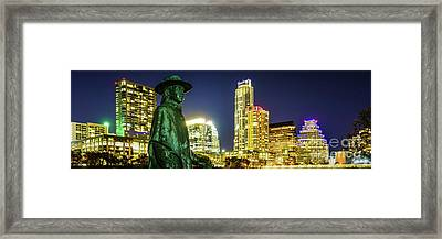 Stevie Ray Vaughan Austin Tx Panorama Framed Print by Paul Velgos