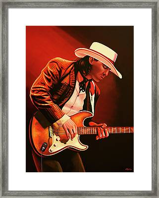 Stevie Ray Vaughan Painting Framed Print by Paul Meijering