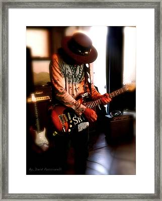 Stevie Ray Vaughan Reflections   Framed Print by Iconic Images Art Gallery David Pucciarelli