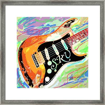 Stevie Ray Vaughan Stratocaster Framed Print by David Lloyd Glover