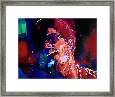 Stevie Wonder Framed Print by David Lloyd Glover