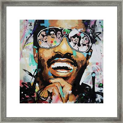 Stevie Wonder Portrait Framed Print by Richard Day