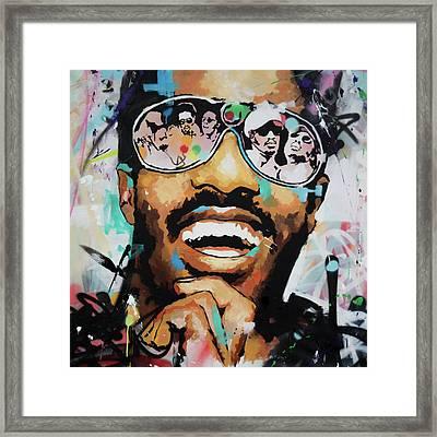 Stevie Wonder Portrait Framed Print