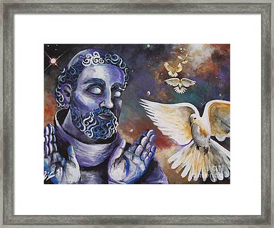 St.francis And The Birds Framed Print by Olivia Candille