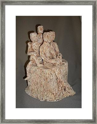 Stick People - Family Portrait Framed Print by Sally Van Driest