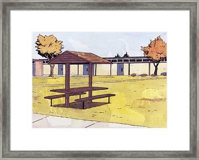 Sticker Landscape 1 Schoolyard Framed Print by Karl Frey