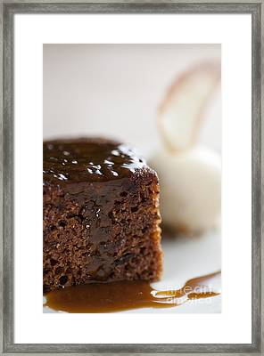 Sticky Toffee Pudding Traditional English Dessert With Ice Cream And Biscuit Framed Print