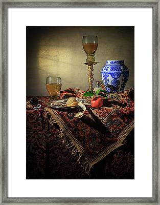 Stil Life With Roemers-oysters-wanliurn Framed Print