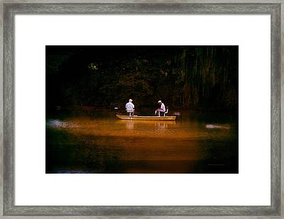 Still Fishing At Sun Down Textured Framed Print