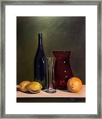 Still Life With Bottle, Vases And Fruit Framed Print