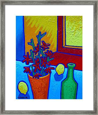 still Life At Yellow Window Framed Print by John  Nolan