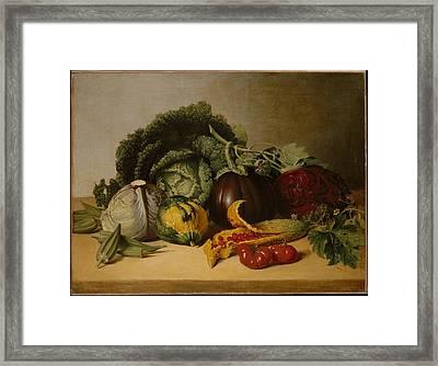 Still Life Balsam Apple And Vegetables Framed Print by Celestial Images