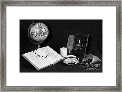 Still Life Bw Coffee Framed Print by Cecil Fuselier