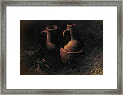 Still Life Clay Jugs Framed Print by Frank Andree