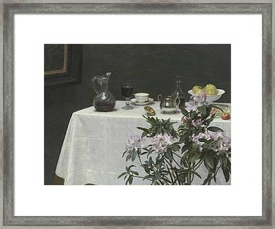 Still Life Corner Of A Table Framed Print by Ignace Henri Jean Fantin-Latour