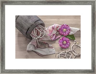 Still Life Details, Scarf And Pearls In Retro Vintage Wooden Box Framed Print by Julian Popov