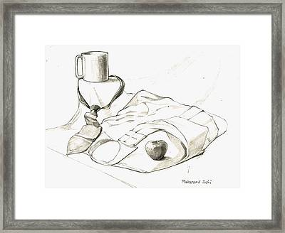 Still Life Drawing With A Cup N A Neck Tie N A Shirt N An Apple Framed Print by Makarand Joshi