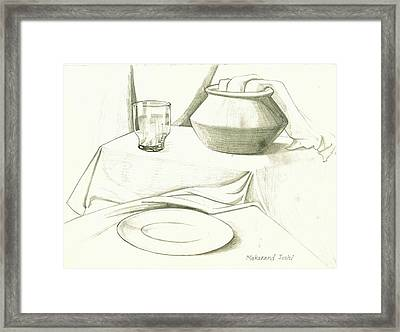 Still Life Drawing With An Earthen Pot N A Glass N A Plate N A Cloth Framed Print by Makarand Joshi