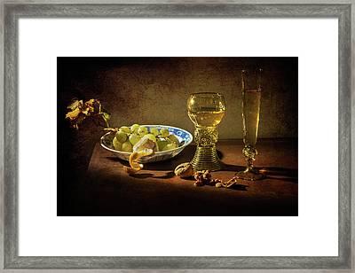 Still Life Grapes On Kraak Porcelain-roemer And Flute Glass Framed Print