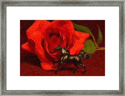 Still Life In Black And Red Framed Print by Jeff  Gettis