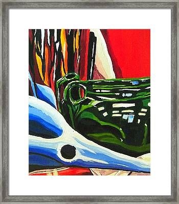 Still Life In Red Blue Green Framed Print by Amy Williams