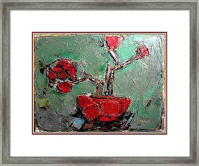 Framed Print featuring the painting still life in red SLIR2 by Pemaro