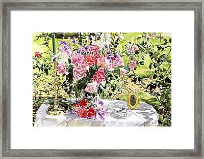 Still Life In The Artist's Garden Framed Print by David Lloyd Glover