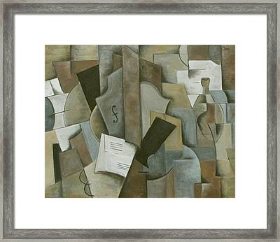 Still Life Music And Bottle Framed Print by Trish Toro
