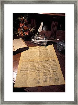 Still Life Of A Copy Of The Declaration Framed Print by Richard Nowitz