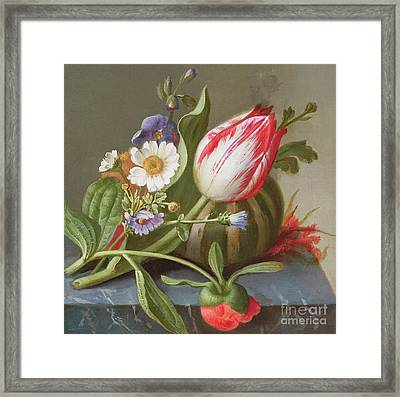 Still Life Of A Tulip, A Melon And Flowers On A Ledge Framed Print