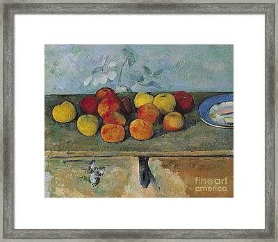 Still Life Of Apples And Biscuits Framed Print