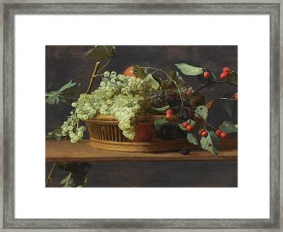 Still Life Of Blue And White Grapestogether With Wild Strawberries All In A Basket On A Wooden Ledge Framed Print by Jacob Foppens van Es