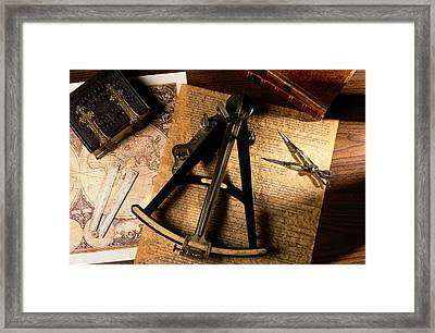 Still Life Of Charts, Books Framed Print by Todd Gipstein