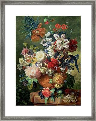 Still Life Of Flowers And A Bird's Nest On A Pedestal  Framed Print by Jan van Huysum