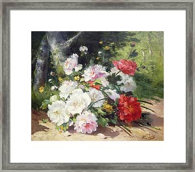 Still Life Of Flowers Framed Print by Eugene Henri Cauchois