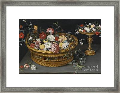 Still Life Of Flowers In A Basket And Flowers Framed Print by Celestial Images
