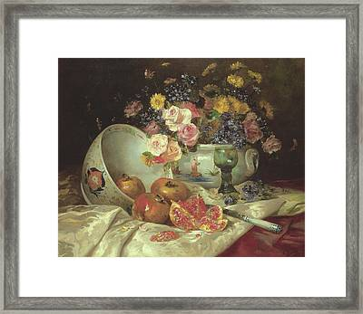 Still Life Of Flowers In A Chinese Vase With Pomegranates Framed Print