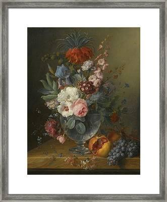 Still Life Of Flowers In A Glass Vase Framed Print