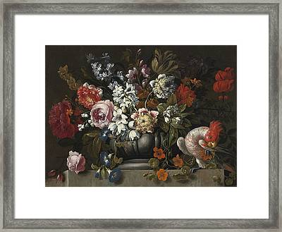 Still Life Of Flowers In A Stone Urn With A Parrot Framed Print