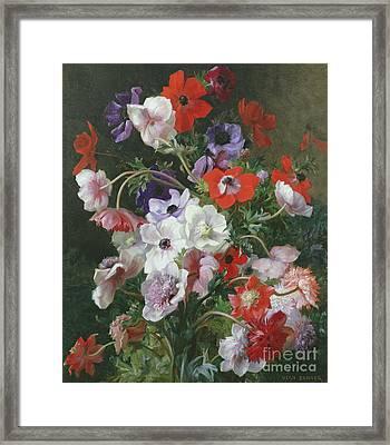 Still Life Of Flowers Framed Print by Jean Benner