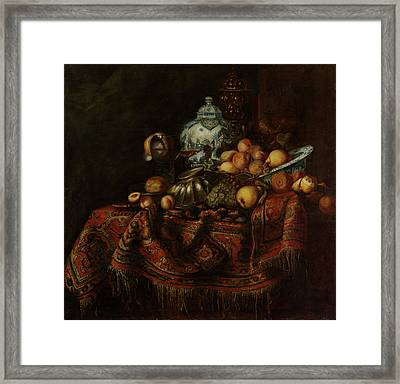 Still Life Of Fruits And Opulent Objects Framed Print by Michael Durst