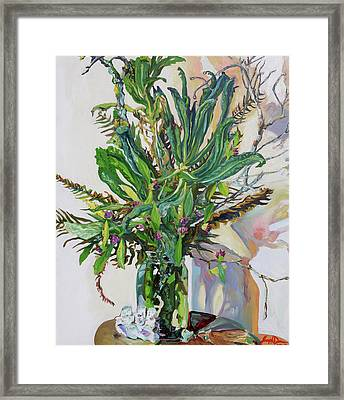 Still Life Of Kale, Fallen Twigs And Other Things That Survived The Storm Framed Print by Joseph Demaree