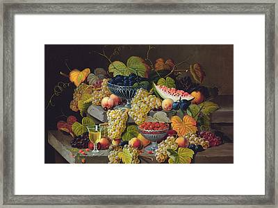 Still Life Of Melon Plums Grapes Cherries Strawberries On Stone Ledge Framed Print by Severin Roesen