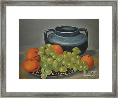 Still Life Of Oranges And Grapes Framed Print by Margit Armbrust
