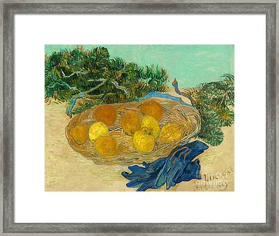 Still Life Of Oranges And Lemons With Blue Gloves, 1889 Framed Print by Vincent Van Gogh
