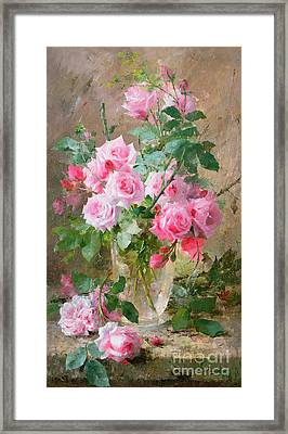 Still Life Of Roses In A Glass Vase  Framed Print by Frans Mortelmans