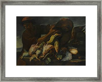 Still Life Of Salt Water Fish With A Fisherman Framed Print