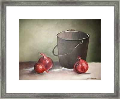 Still Life Onions Framed Print by Nellie Visser